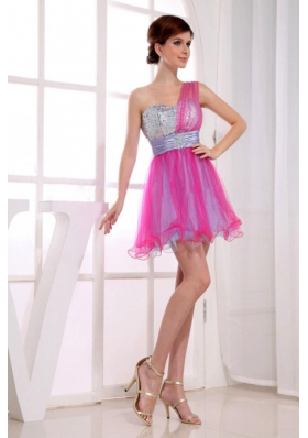 One Shoulder Hot Pink Prom Dress Organza Mini Beaded
