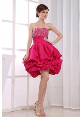 Beadwork Hot Pink Mini A-Line Prom Dresss Pick-ups