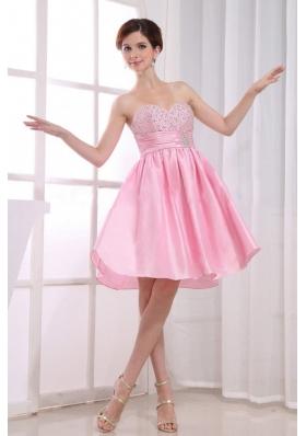 Pink A-Line Beaded Taffeta Knee-length Prom Dress