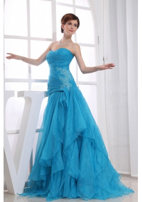 Organza Blue Ruffles Ruched Sweetheart Prom Dress