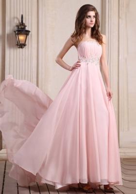 Beaded Baby Pink Prom Dress Chiffon Brush Train