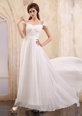 Cap Sleeves Brush White Square Prom Dress Ruched