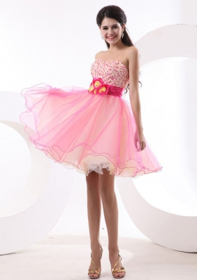 Colorful Beaded Hand Flowers Mini-length Cocktail Dress