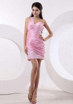 Beaded One Shoulder Ruch Prom Dress Mini-length Pink