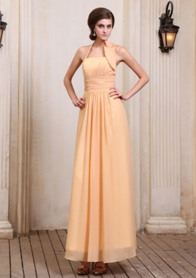 Gold Ankle-length Prom Dress With Chiffon Halter