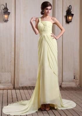 Yellow Green One Shoulder Prom Dress Court Chiffon