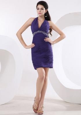 Halter Purple Beaded Waist Mini Prom Dress Ruched