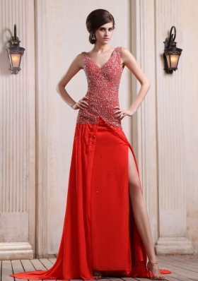 Red Prom Dress Beaded High Slit Court V-neck