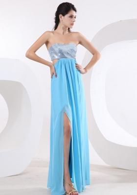 Aqua Side Cut Prom Dress With Sequin High Slit