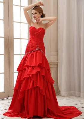 Mermaid Red Prom Dress Sweetheart Ruched Beading