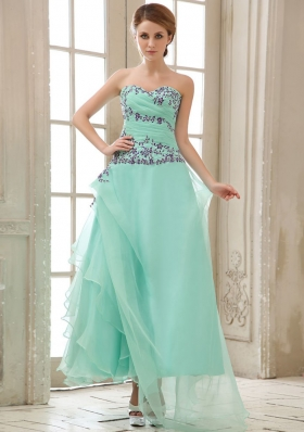 Ankle-length Apple Green Prom Dress Ruched Appliques