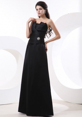 Black Taffeta Prom Evening Dress with Strapless Beading