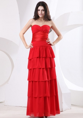 Ruffled Layers Red Sweetheart Ruched Prom Dress