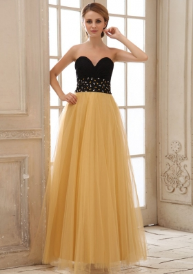 Gold Tulle Sweetheart Prom Dress with Sweetheart