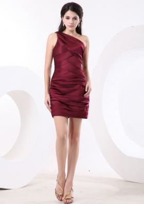 One Shoulder Wine Red Short Prom Dress Ruched
