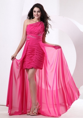 High-low Hot Pink One Shoulder Prom Pageant Dress Beading