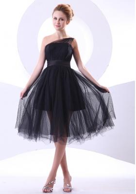 One Shoulder Black Tulle Knee-length Prom Dress