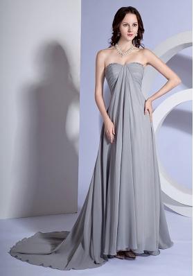 Brush Train Beads Sweetheart Grey Dress for Prom