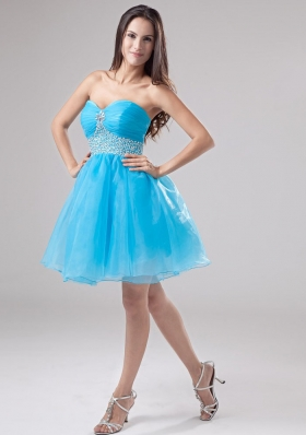 Baby Blue A-Line Beadwork Organza Mini Prom Dress