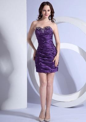 Ruch Over Skirt Purple Column Beaded Mini Prom Dress