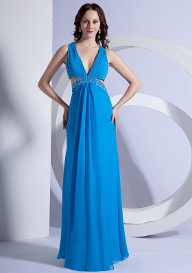 Sky Blue Side Cut V-neck Prom Gown Beaded Chiffon