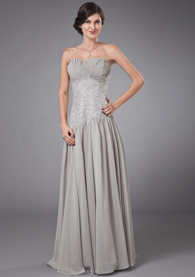 Column Sweetheart Chiffon Beading Prom Dress Grey