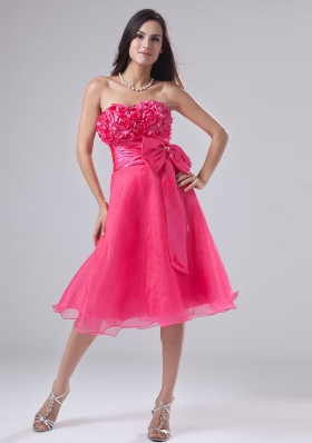 Handmade Flowers Bowknot Hot Pink Prom Gown Short