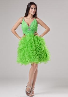 V-neck Knee-length Ruffled Prom Gown Spring Green