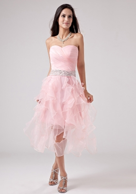 Ruffles Baby Pink Sweetheart Organza Ruched Prom Gown