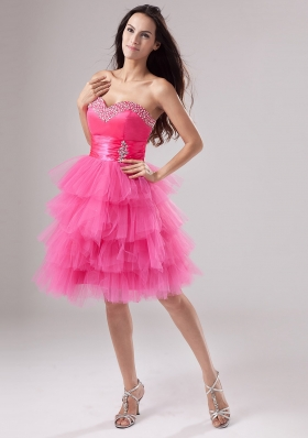 Layered Pink Beads Ruched Dress for 2013 Prom