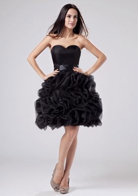 Knee-length Black Prom Gown Organza Ruffles