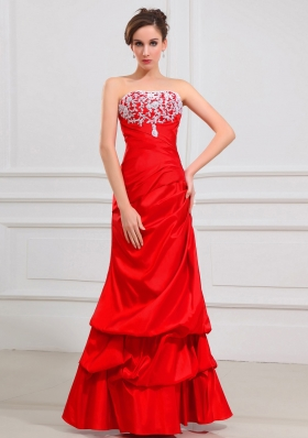 Lace Red A-Line Taffeta Prom Dress with Pick-ups