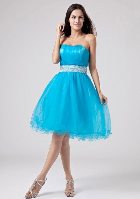 Teal Knee-length Organza Prom Dress Sash Ruched - US$123.58