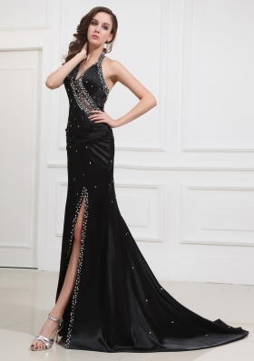 Column Black Brush Prom Dress with Halter High Slit