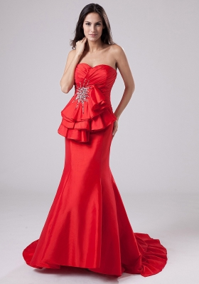 Mermaid Red Sweetheart Taffeta Prom Pageant Dress Ruffled