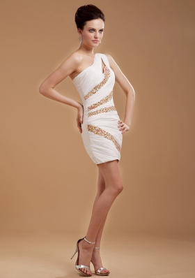 One Shoulder Cocktail Dress With Beaded Mini-length