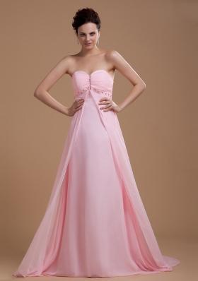 Baby Pink Prom Dress Sweetheart Beaded Court Chiffon Us