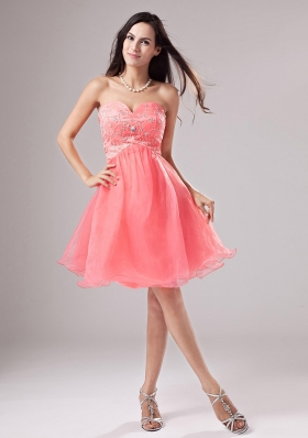 A-Line Organza Watermelon Beaded Mini Prom Dress