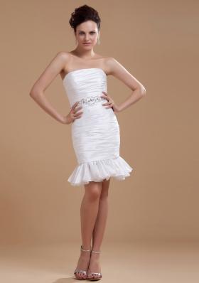 Sexy White Prom Dress Beaded Column Mini-length