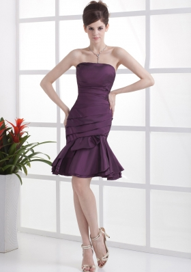 Dark Purple Cocktail Dress Mermaid Ruched Knee-length