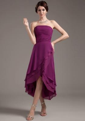 Discount Prom Dress High-low Dark Purple Ruching