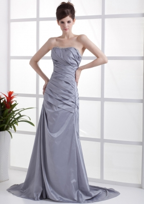 Beading Grey Brush 2013 Prom Pageant Dress Pleats Designer