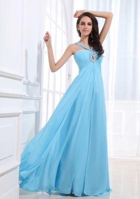 Customize Beaded V-neck Baby Blue Prom Dress Keyhole