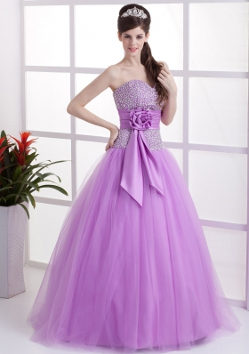 Sweet Lavender Prom Dress Beaded Hand Made