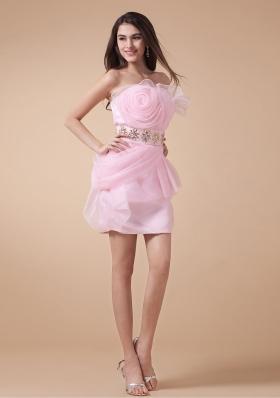 Fashionable Prom Graduation Dress Baby Pink Hand Made Beading