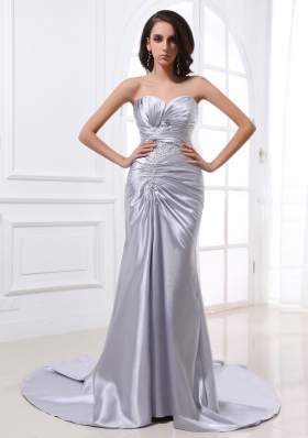 Silver Prom Dress Ruched Beading Designer Your Own