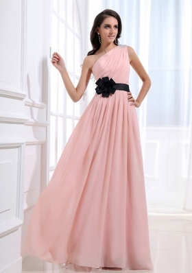One Shoulder Baby Pink Sash Prom Dress Chiffon