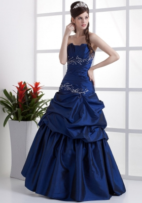 Popular Peacock Blue Prom Dress Appliques Pick-ups