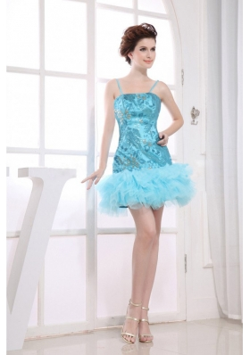 Embroidery Aqua Blue Short Prom Dress Spaghetti Straps