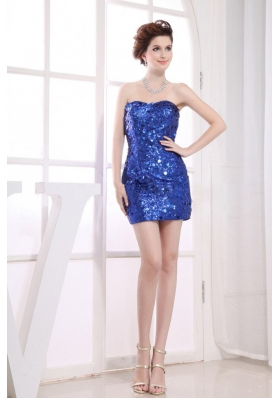 Paillette Over Sweetheart Prom Dress Mini-length